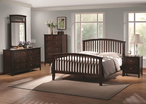 Tia Queen Headboard & Footboard Bed with Tapered Legs