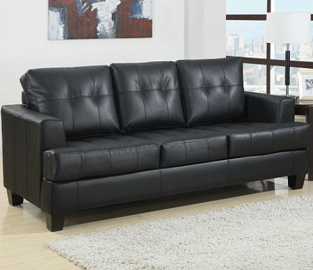 Samuel #501680 Black Leather Sleeper
